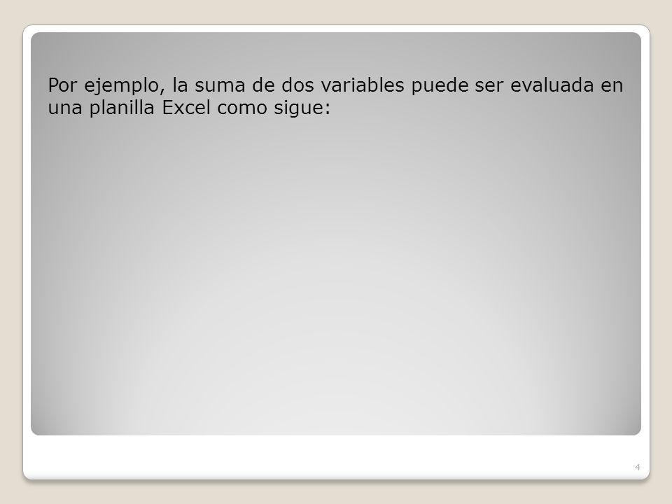 Por ejemplo, la suma de dos variables puede ser evaluada en una planilla Excel como sigue: 4