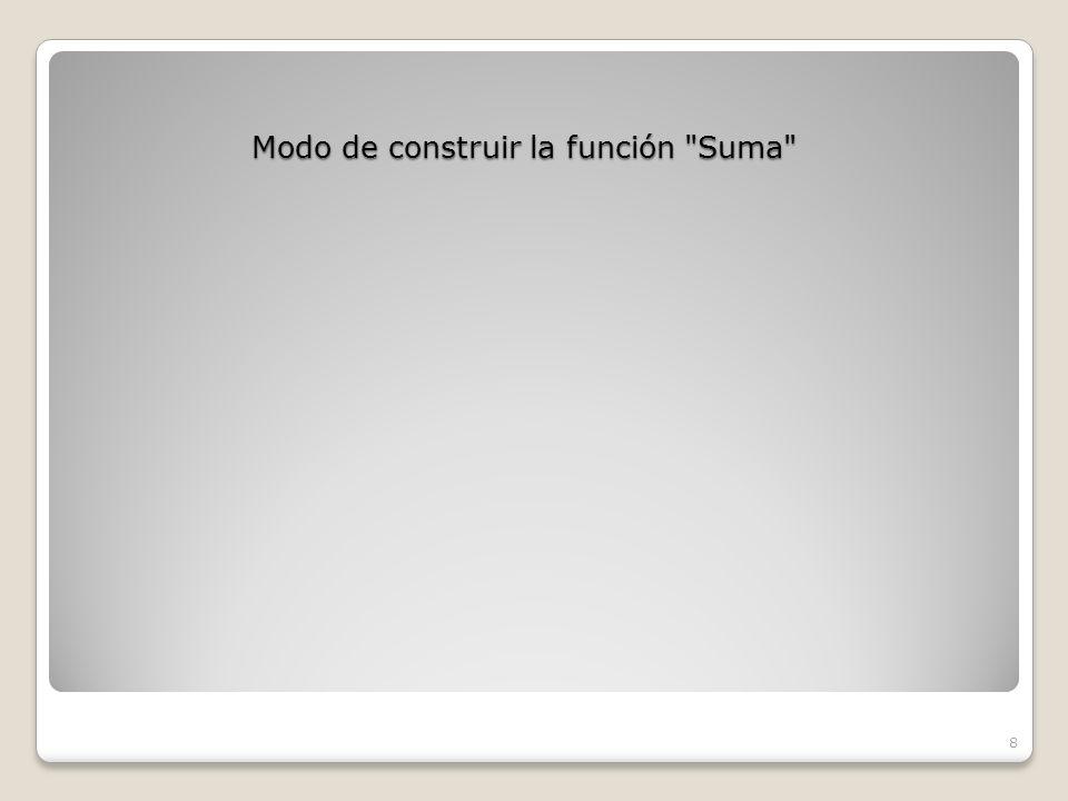 Modo de construir la función Suma 8