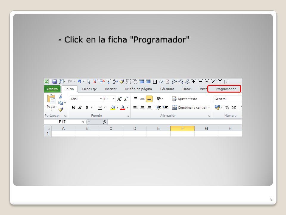 - Click en la ficha Programador 9