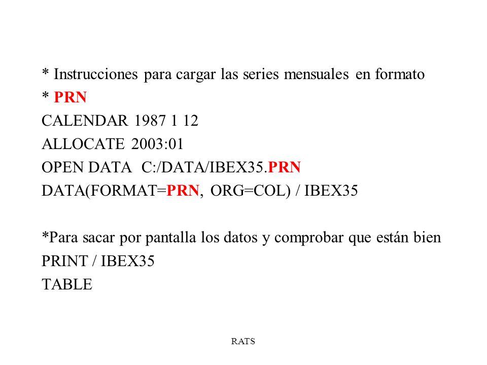 RATS * Instrucciones para cargar las series mensuales en formato * PRN CALENDAR 1987 1 12 ALLOCATE 2003:01 OPEN DATA C:/DATA/IBEX35.PRN DATA(FORMAT=PR
