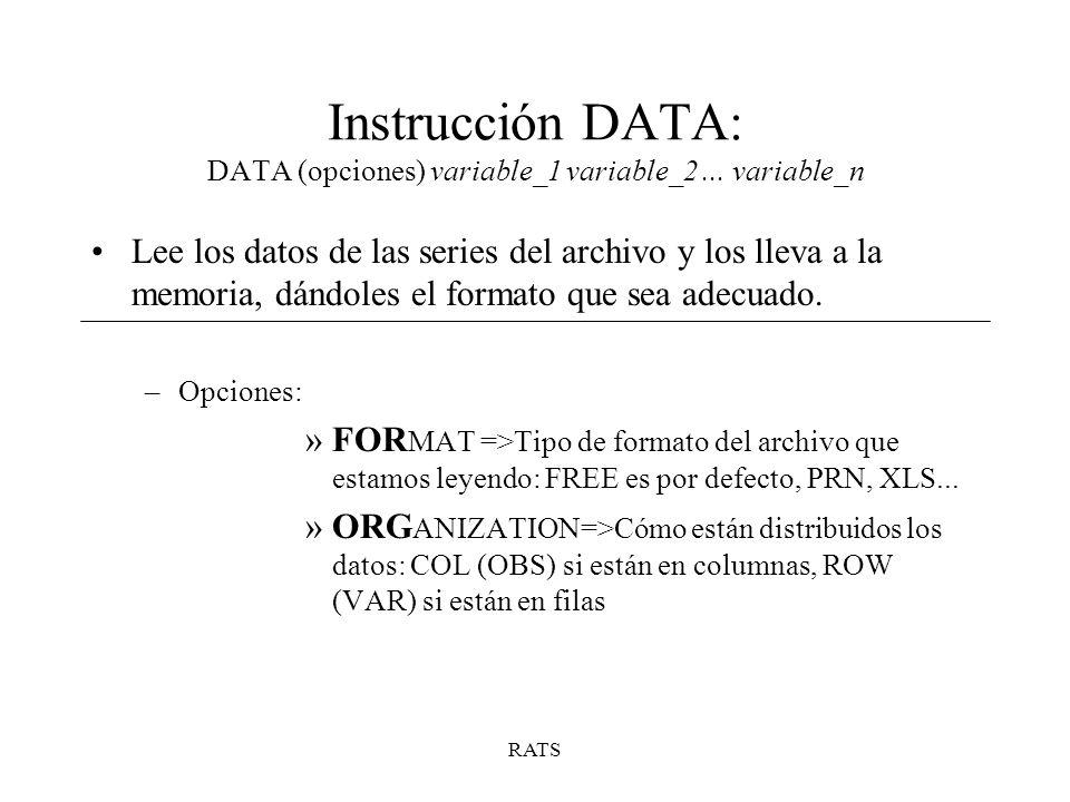 RATS Instrucción DATA: DATA (opciones) variable_1 variable_2... variable_n Lee los datos de las series del archivo y los lleva a la memoria, dándoles