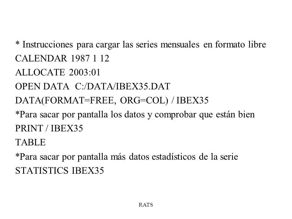 * Instrucciones para cargar las series mensuales en formato libre CALENDAR 1987 1 12 ALLOCATE 2003:01 OPEN DATA C:/DATA/IBEX35.DAT DATA(FORMAT=FREE, O