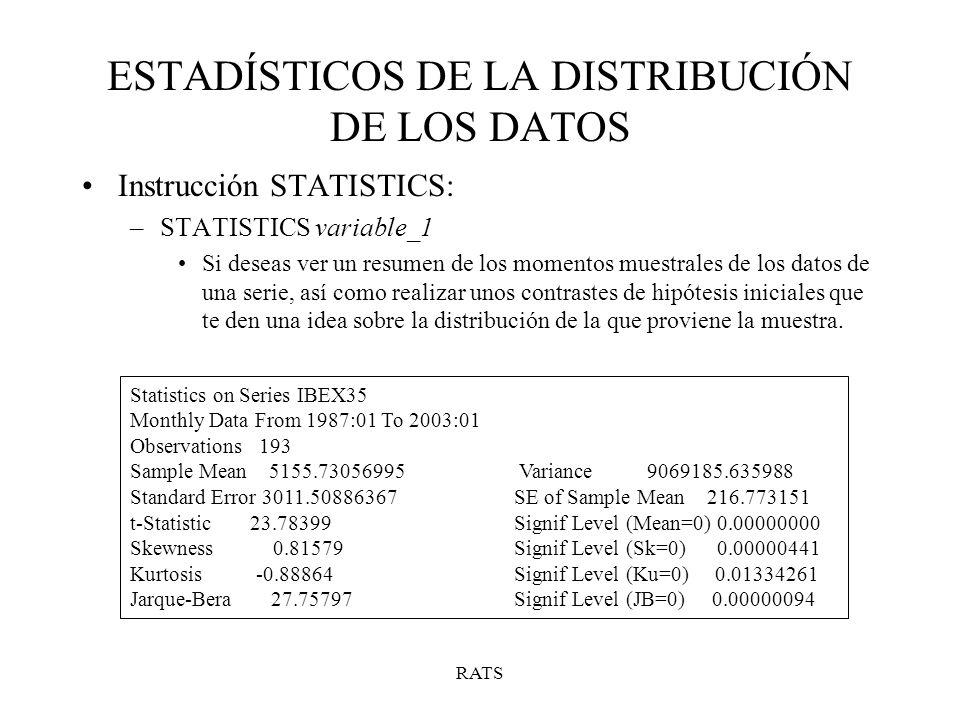 RATS ESTADÍSTICOS DE LA DISTRIBUCIÓN DE LOS DATOS Instrucción STATISTICS: –STATISTICS variable_1 Si deseas ver un resumen de los momentos muestrales d