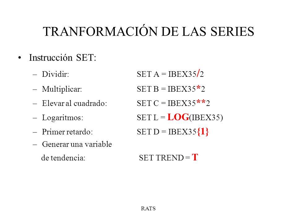 RATS TRANFORMACIÓN DE LAS SERIES Instrucción SET: –Dividir:SET A = IBEX35 / 2 –Multiplicar: SET B = IBEX35 * 2 –Elevar al cuadrado:SET C = IBEX35 ** 2