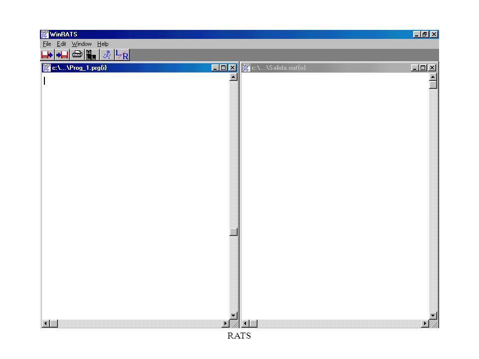 RATS COMPROBAR LOS DATOS Instrucción PRINT: –PRINT (OPCIONES) rango_temporal variable_1...