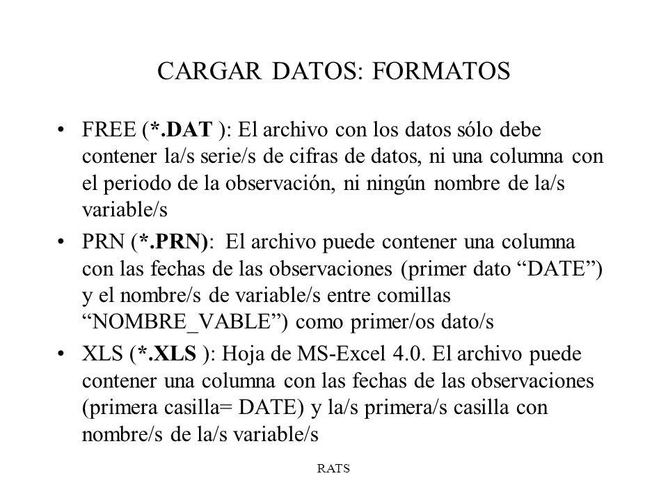 * Instrucciones para cargar las series mensuales en formato libre CALENDAR 1987 1 12 ALLOCATE 2003:01 OPEN DATA C:/DATA/IBEX35.DAT DATA(FORMAT=FREE, ORG=COL) / IBEX35 *Para sacar por pantalla los datos y comprobar que están bien PRINT / IBEX35 TABLE *Para sacar por pantalla más datos estadísticos de la serie STATISTICS IBEX35