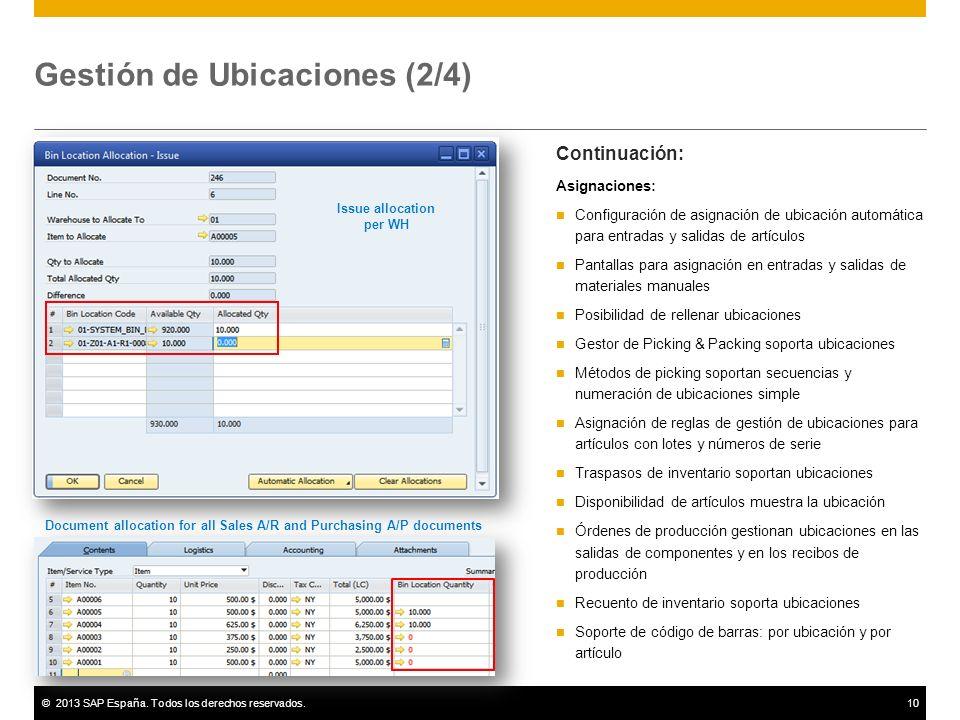©2013 SAP España. Todos los derechos reservados.10 Gestión de Ubicaciones (2/4) Continuación: Asignaciones: Configuración de asignación de ubicación a