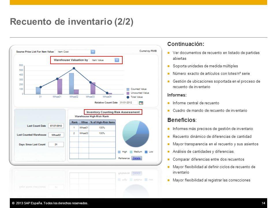 ©2013 SAP España. Todos los derechos reservados.14 Recuento de inventario (2/2) Continuación: Ver documentos de recuento en listado de partidas abiert