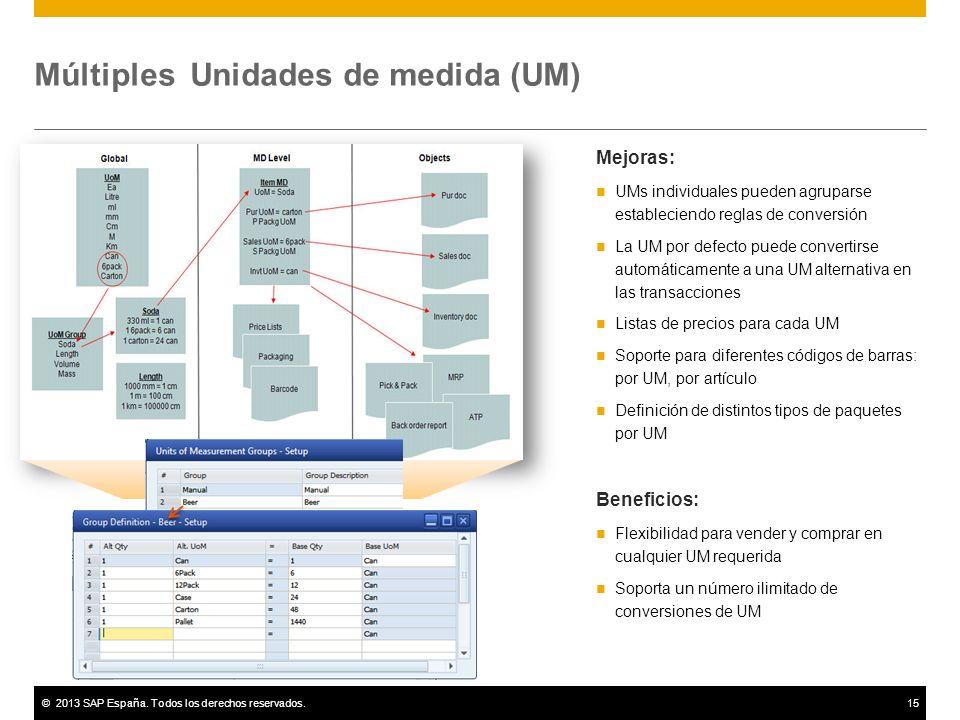 ©2013 SAP España. Todos los derechos reservados.15 Múltiples Unidades de medida (UM) Mejoras: UMs individuales pueden agruparse estableciendo reglas d
