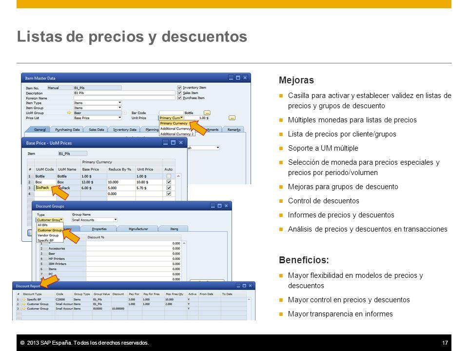 ©2013 SAP España. Todos los derechos reservados.17 Listas de precios y descuentos Mejoras Casilla para activar y establecer validez en listas de preci