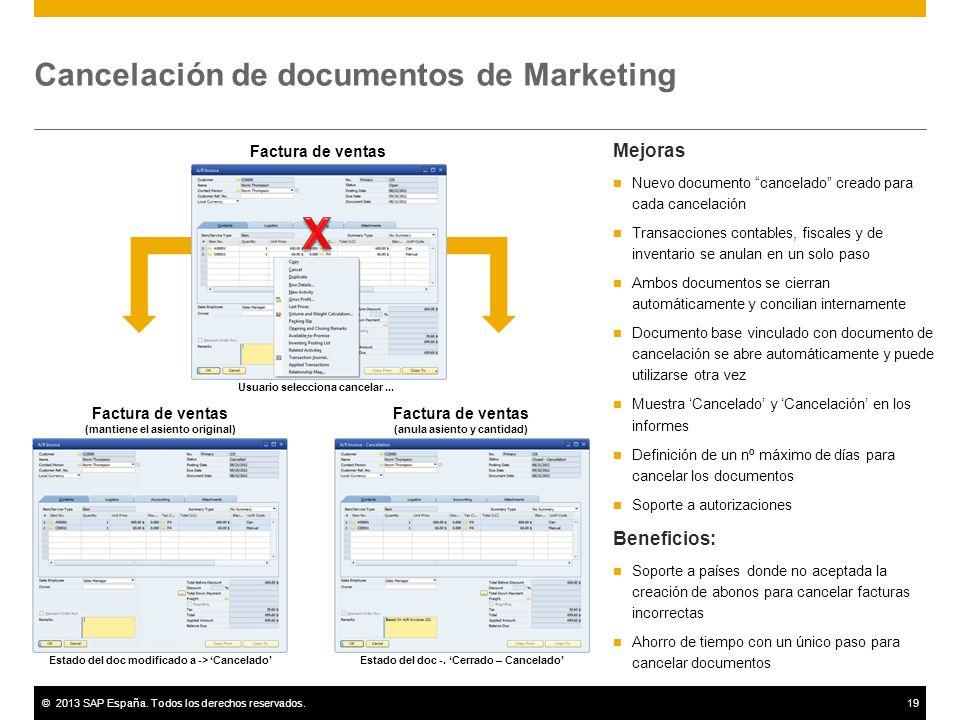 ©2013 SAP España. Todos los derechos reservados.19 Cancelación de documentos de Marketing Mejoras Nuevo documento cancelado creado para cada cancelaci