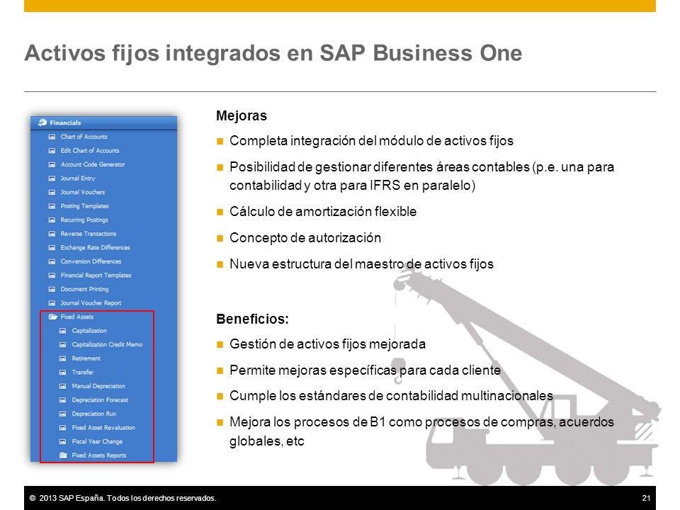 ©2013 SAP España. Todos los derechos reservados.21 Activos fijos integrados en SAP Business One Mejoras Completa integración del módulo de activos fij