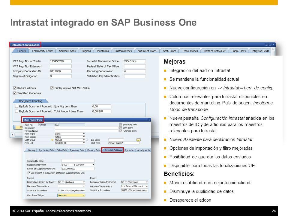©2013 SAP España. Todos los derechos reservados.24 Intrastat integrado en SAP Business One Mejoras Integración del aad-on Intrastat Se mantiene la fun