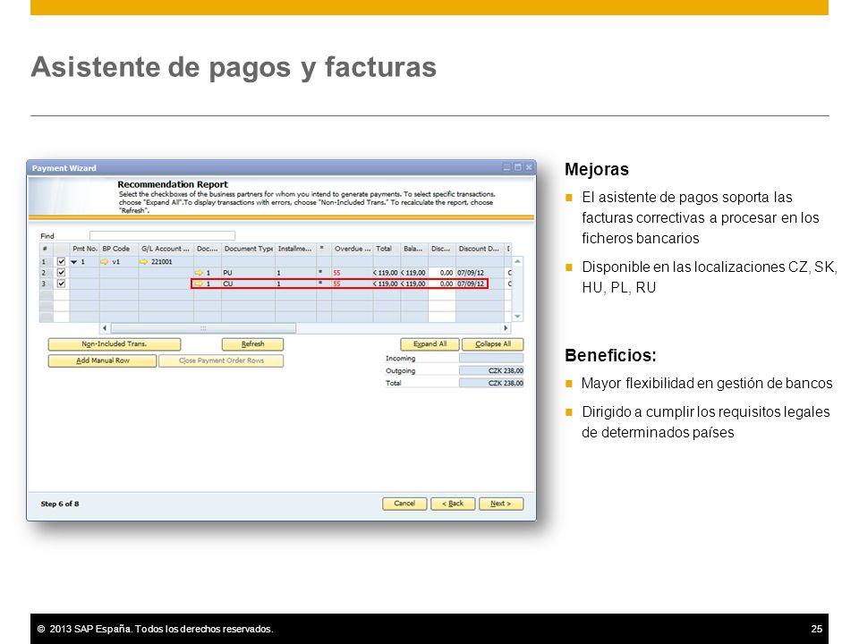©2013 SAP España. Todos los derechos reservados.25 Asistente de pagos y facturas Mejoras El asistente de pagos soporta las facturas correctivas a proc