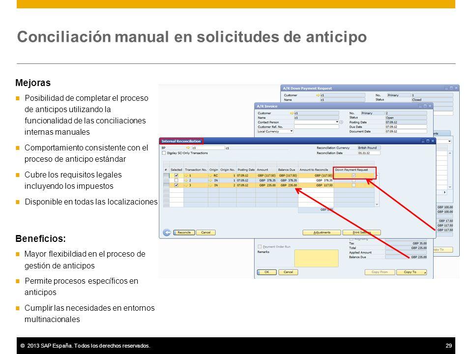 ©2013 SAP España. Todos los derechos reservados.29 Conciliación manual en solicitudes de anticipo Mejoras Posibilidad de completar el proceso de antic