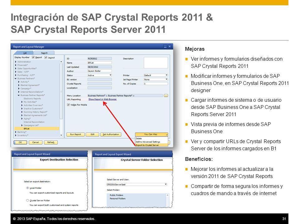 ©2013 SAP España. Todos los derechos reservados.31 Integración de SAP Crystal Reports 2011 & SAP Crystal Reports Server 2011 Mejoras Ver informes y fo