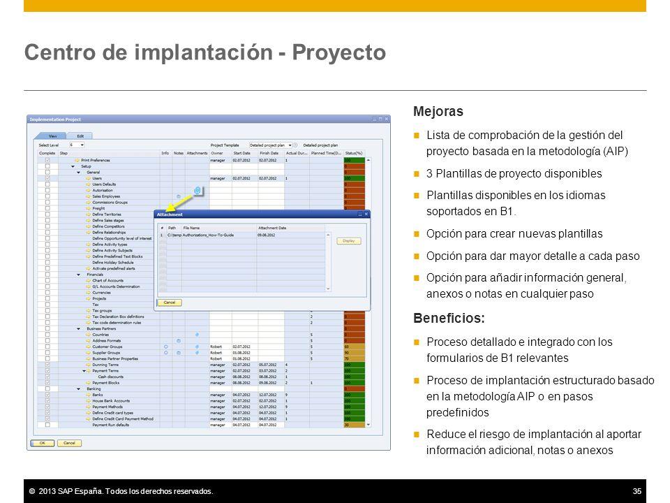 ©2013 SAP España. Todos los derechos reservados.35 Centro de implantación - Proyecto Mejoras Lista de comprobación de la gestión del proyecto basada e