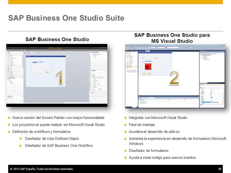 ©2013 SAP España. Todos los derechos reservados.39 SAP Business One Studio Suite Nueva versión del Screen Painter con mayor funcionalidad Los proyecto