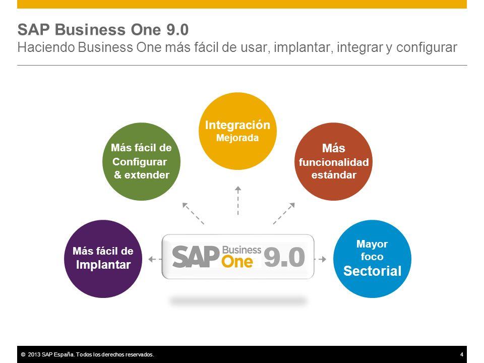 ©2013 SAP España. Todos los derechos reservados.4 SAP Business One 9.0 Haciendo Business One más fácil de usar, implantar, integrar y configurar Más f