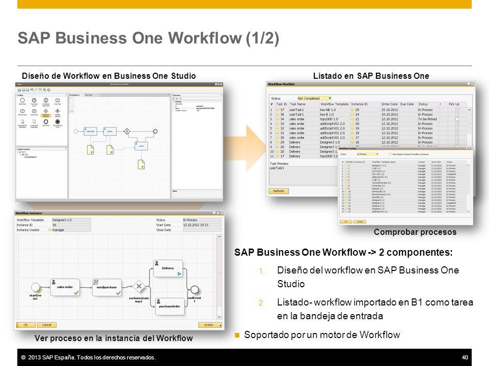 ©2013 SAP España. Todos los derechos reservados.40 SAP Business One Workflow (1/2) Design Workflow in Business One Studio SAP Business One Workflow ->