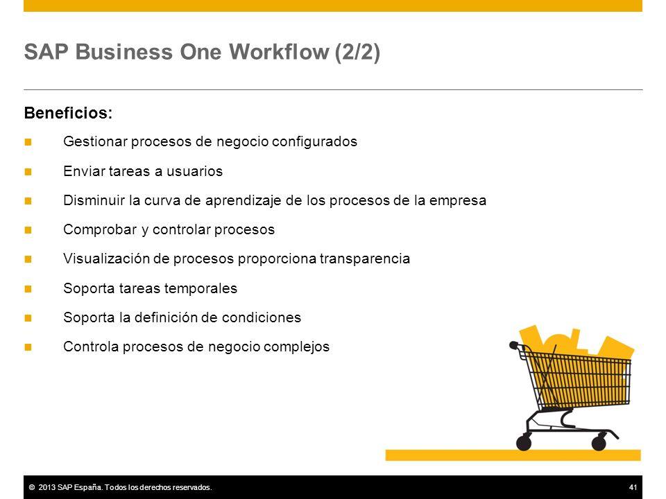 ©2013 SAP España. Todos los derechos reservados.41 SAP Business One Workflow (2/2) Beneficios: Gestionar procesos de negocio configurados Enviar tarea