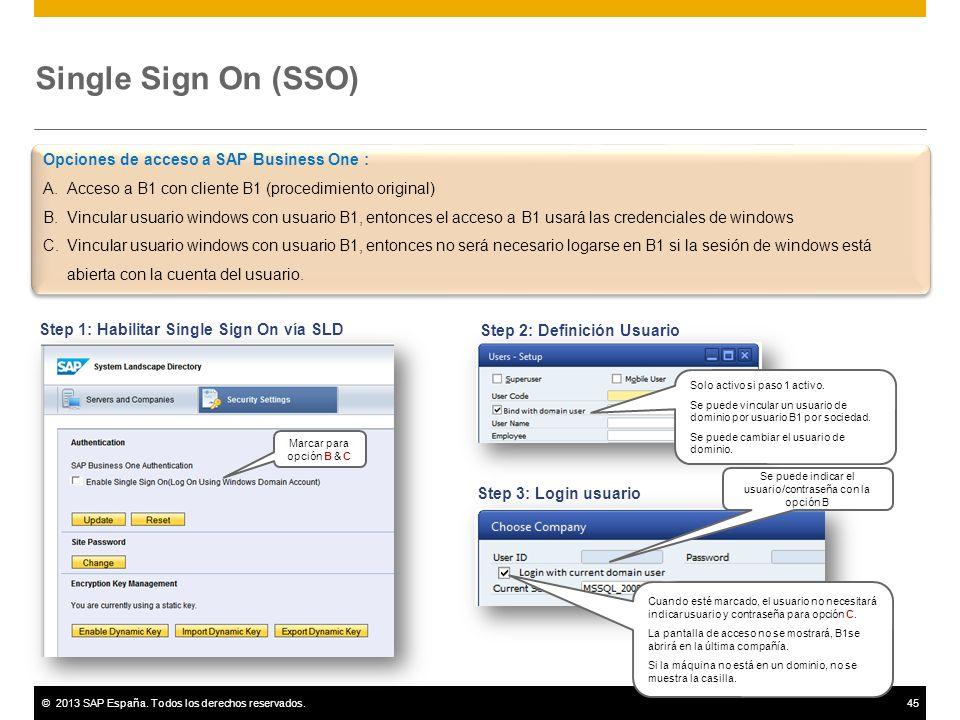 ©2013 SAP España. Todos los derechos reservados.45 Single Sign On (SSO) Step 1: Habilitar Single Sign On vía SLD Marcar para opción B & C Step 2: Defi