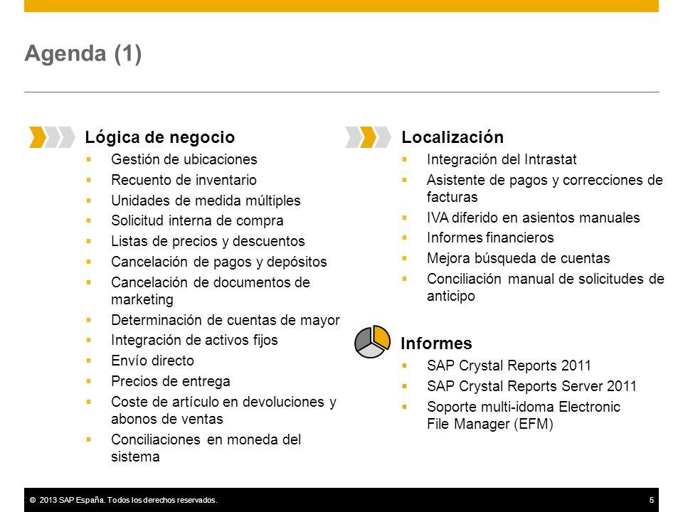 ©2013 SAP España. Todos los derechos reservados.5 Agenda (1) Localización Integración del Intrastat Asistente de pagos y correcciones de facturas IVA
