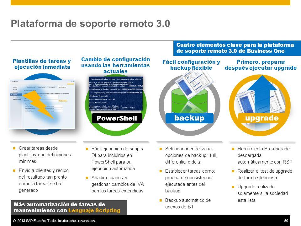 ©2013 SAP España. Todos los derechos reservados.50 Herramienta Pre-upgrade descargada automáticamente con RSP Realizar el test de upgrade de forma sil