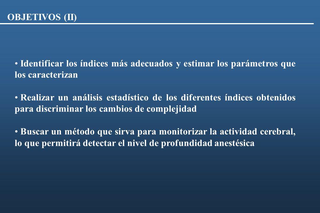 Identificar los índices más adecuados y estimar los parámetros que los caracterizan Realizar un análisis estadístico de los diferentes índices obtenid