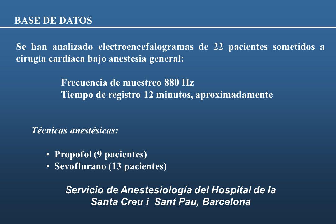 BASE DE DATOS Se han analizado electroencefalogramas de 22 pacientes sometidos a cirugía cardíaca bajo anestesia general: Frecuencia de muestreo 880 H