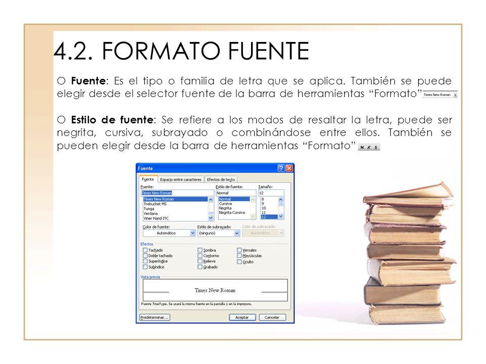 4.2.FORMATO FUENTE O Fuente : Es el tipo o familia de letra que se aplica. También se puede elegir desde el selector fuente de la barra de herramienta