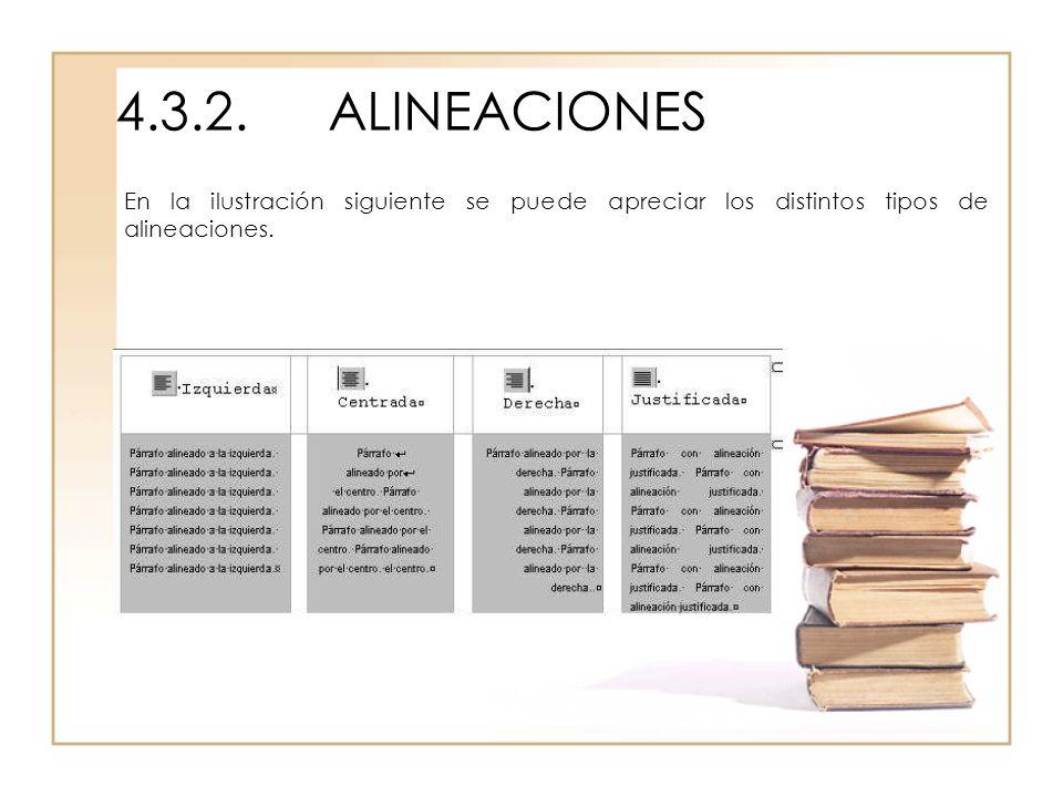 4.3.2.ALINEACIONES En la ilustración siguiente se puede apreciar los distintos tipos de alineaciones.