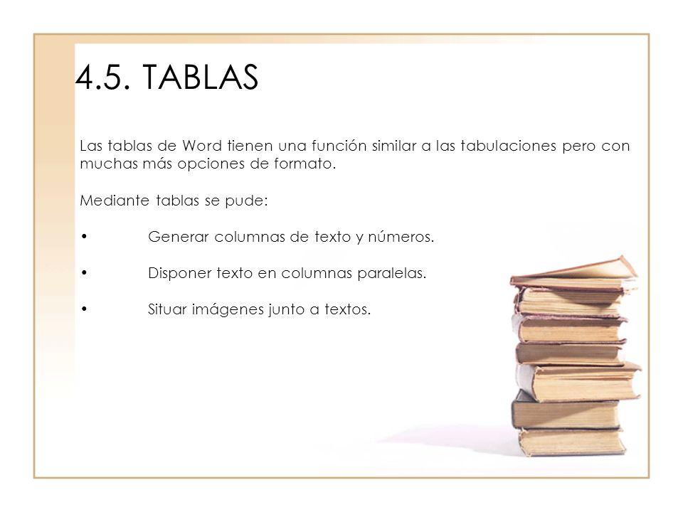4.5.TABLAS Las tablas de Word tienen una función similar a las tabulaciones pero con muchas más opciones de formato. Mediante tablas se pude: Generar