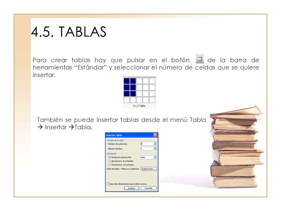 4.5.TABLAS Para crear tablas hay que pulsar en el botón de la barra de herramientas Estándar y seleccionar el número de celdas que se quiere insertar.