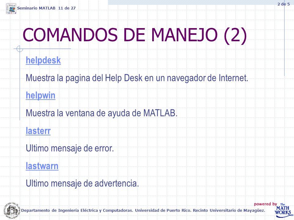 COMANDOS DE MANEJO (2) helpdesk Muestra la pagina del Help Desk en un navegador de Internet. helpwin Muestra la ventana de ayuda de MATLAB. lasterr Ul