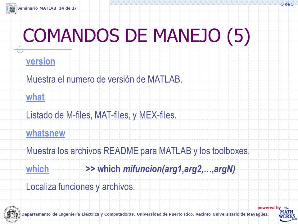 COMANDOS DE MANEJO (5) version Muestra el numero de versión de MATLAB. what Listado de M-files, MAT-files, y MEX-files. whatsnew Muestra los archivos