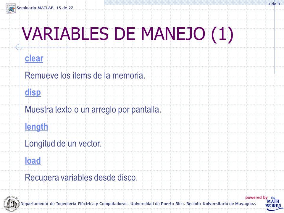 VARIABLES DE MANEJO (1) Departamento de Ingeniería Eléctrica y Computadoras. Universidad de Puerto Rico. Recinto Universitario de Mayagüez. Seminario