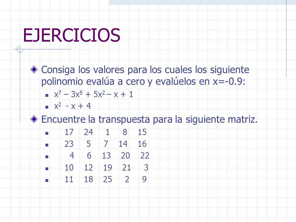 EJERCICIOS Consiga los valores para los cuales los siguiente polinomio evalúa a cero y evalúelos en x=-0.9: x 7 – 3x 5 + 5x 2 – x + 1 x 2 - x + 4 Encu