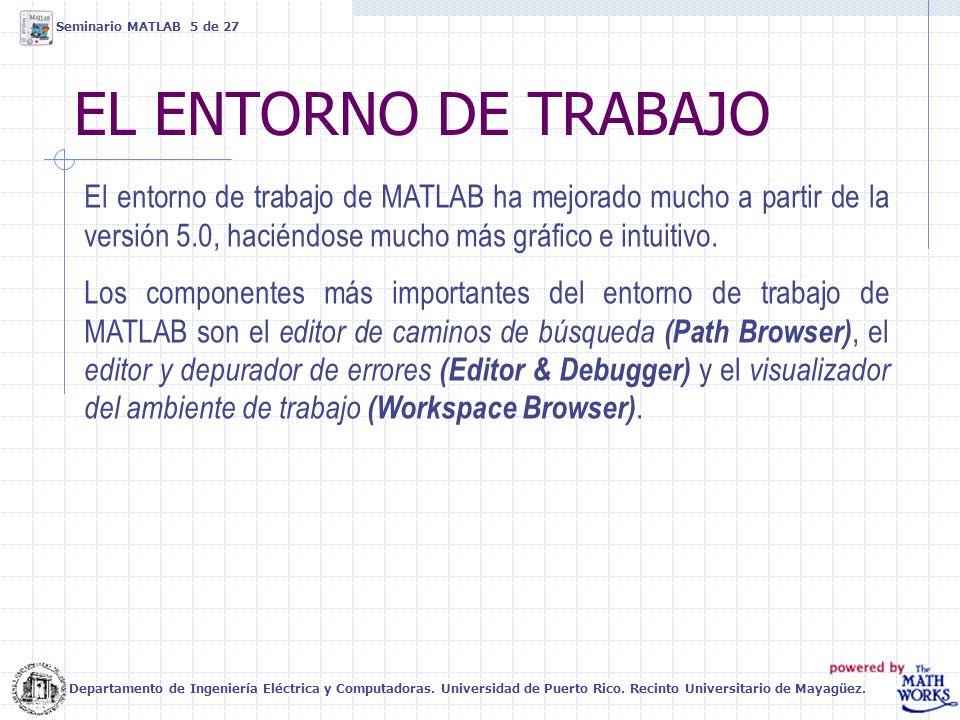 EL ENTORNO DE TRABAJO El entorno de trabajo de MATLAB ha mejorado mucho a partir de la versión 5.0, haciéndose mucho más gráfico e intuitivo. Los comp