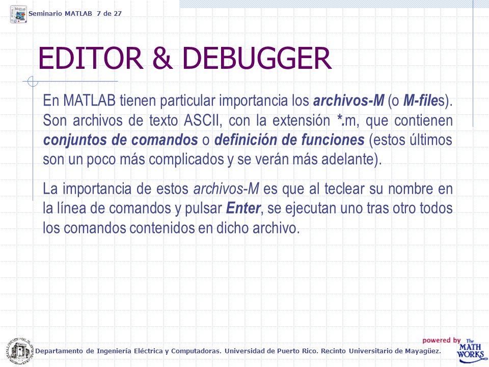 EDITOR & DEBUGGER Seminario MATLAB 7 de 27 En MATLAB tienen particular importancia los archivos-M (o M-file s). Son archivos de texto ASCII, con la ex