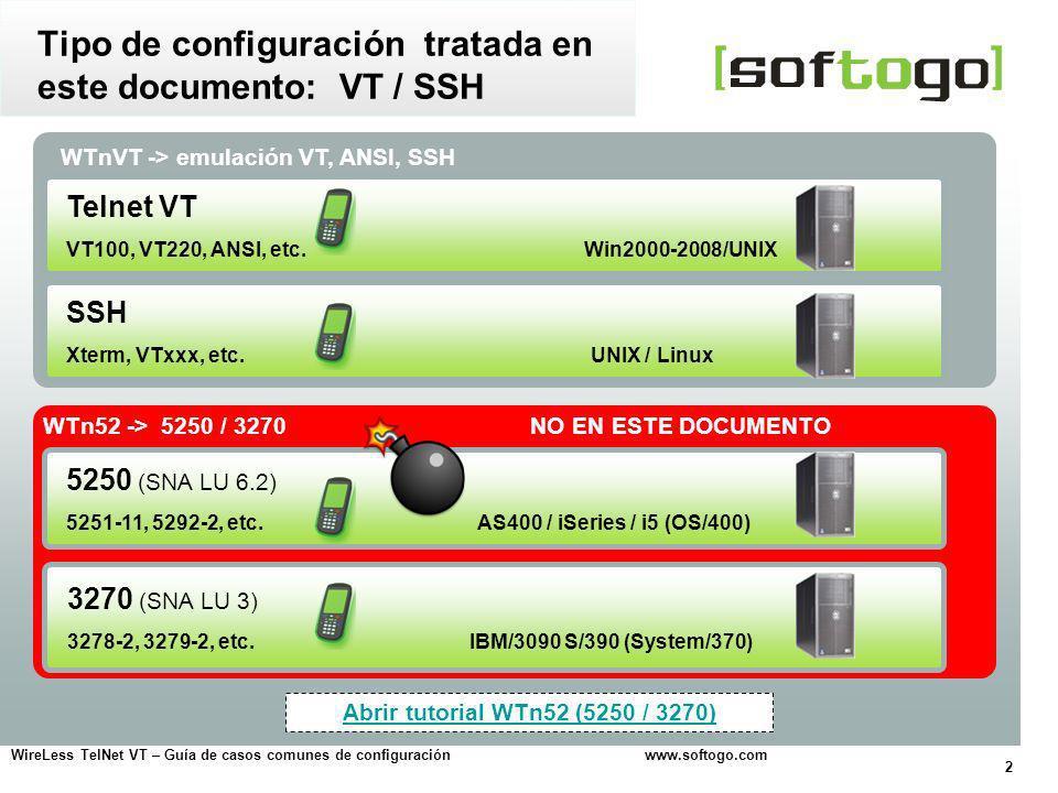 13 WireLess TelNet VT – Guía de casos comunes de configuración www.softogo.com Usando la pantalla táctil y el lápiz del handheld, es posible ejecutar algunas acciones Acciones usando la pantalla Arrastre de pantalla Desplazamiento de la pantalla, arrastrando el lápiz Funcionamiento Permite hacer un scroll de la parte visible de la pantalla emulada, para visualizar todo el contenido Configuración (archivo de configuración VT) [VT_EMULATION] DragDisplay = Yes Ayuda on-lineForo on-line Funcionalidades disponibles