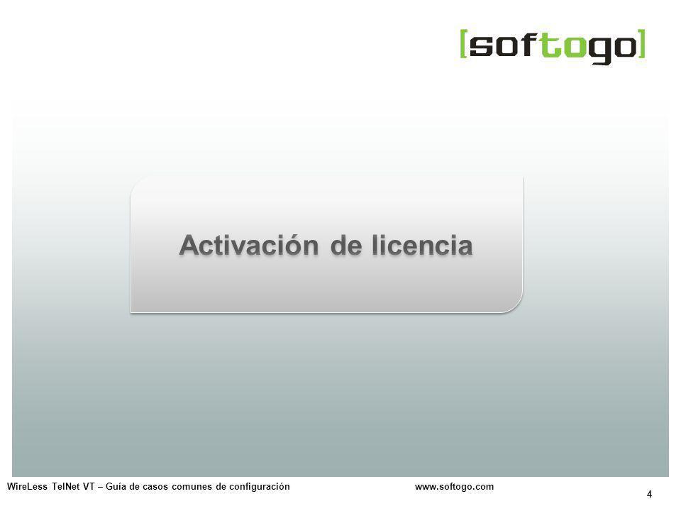 5 Activación de licencia Opciones: Conexión a internet.