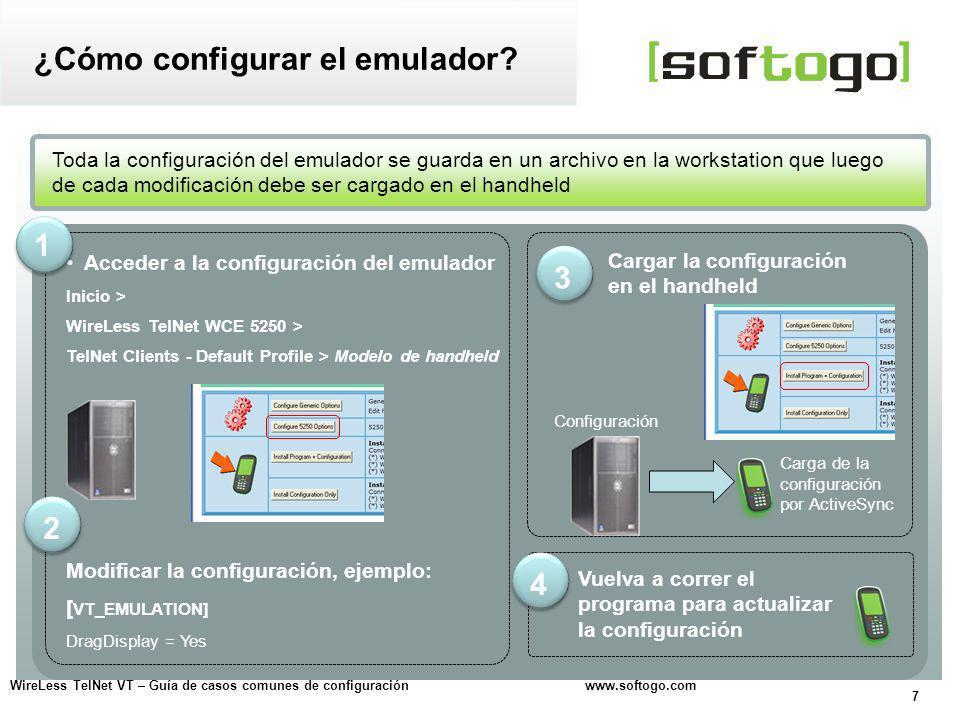 18 WireLess TelNet VT – Guía de casos comunes de configuración www.softogo.com Configurar la cantidad de líneas y columnas que se ven en pantalla Configuración de la pantalla Fuente y tamaño Para probar distintos resultados, se puede cambiar el tipo de fuente y el tamaño Precaución.