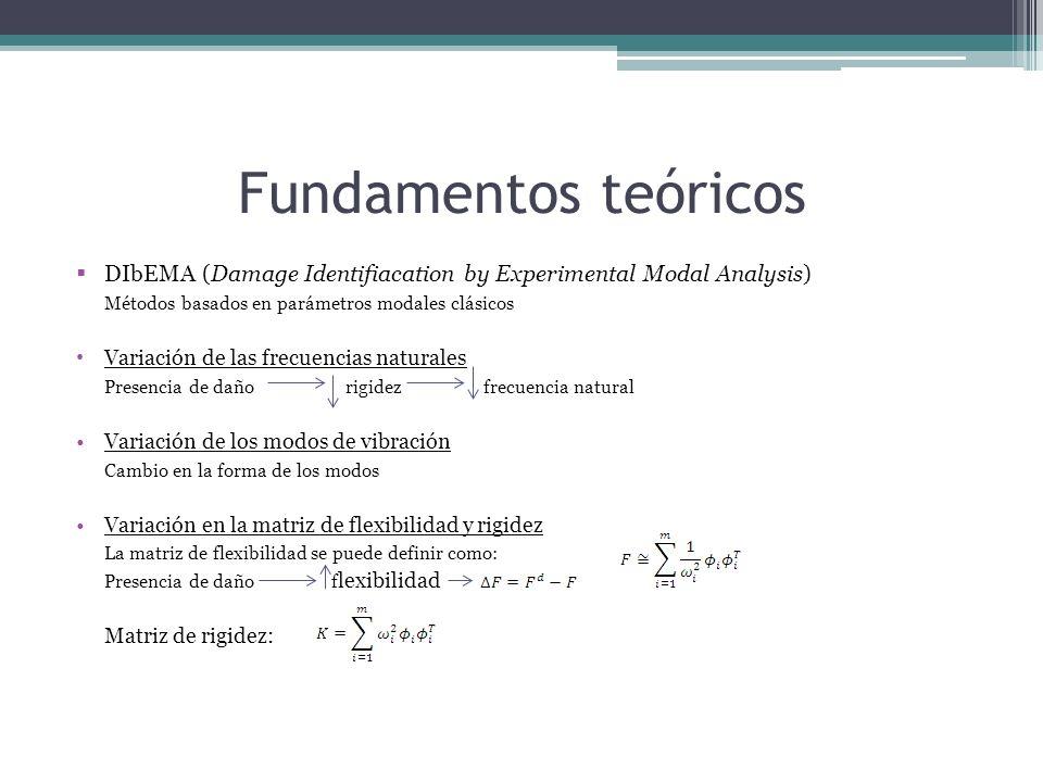 DIbEMA (Damage Identifiacation by Experimental Modal Analysis) Métodos basados en parámetros modales clásicos Variación de las frecuencias naturales Presencia de daño rigidez frecuencia natural Variación de los modos de vibración Cambio en la forma de los modos Variación en la matriz de flexibilidad y rigidez La matriz de flexibilidad se puede definir como: Presencia de daño f lexibilidad Matriz de rigidez: