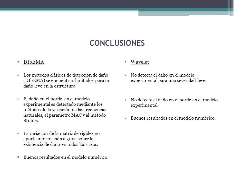 CONCLUSIONES DIbEMA Los métodos clásicos de detección de daño (DIbEMA) se encuentran limitados para un daño leve en la estructura.