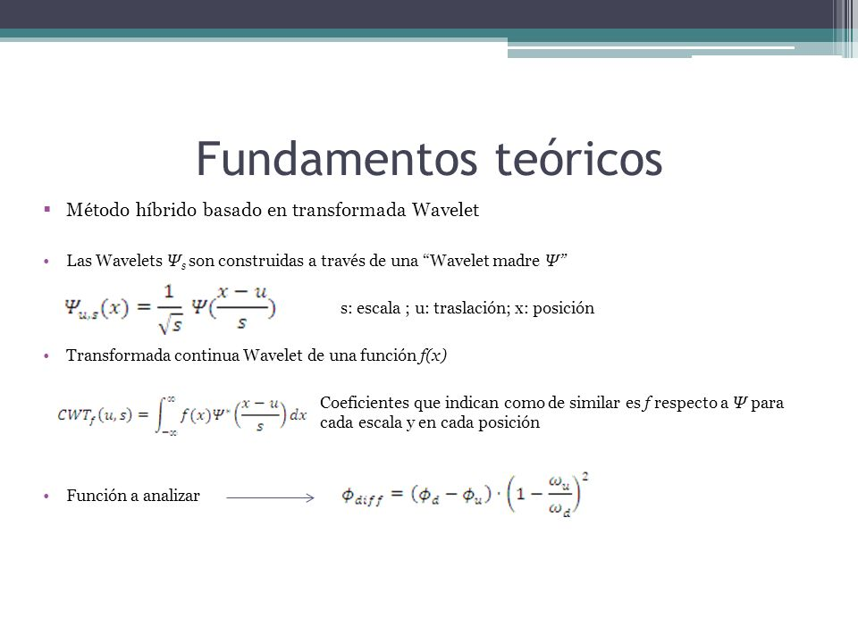 Fundamentos teóricos Método híbrido basado en transformada Wavelet Las Wavelets Ψ s son construidas a través de una Wavelet madre Ψ s: escala ; u: traslación; x: posición Transformada continua Wavelet de una función f(x) Coeficientes que indican como de similar es f respecto a Ψ para cada escala y en cada posición Función a analizar