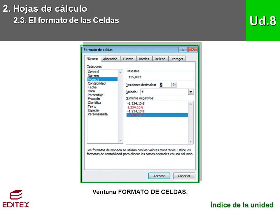 2. Hojas de cálculo 2.3. El formato de las Celdas Ud.8 Ventana FORMATO DE CELDAS.