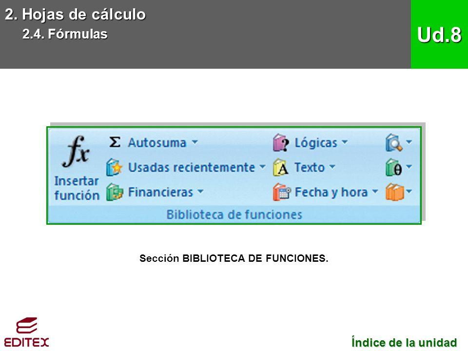 2. Hojas de cálculo 2.4. Fórmulas Ud.8 Sección BIBLIOTECA DE FUNCIONES.