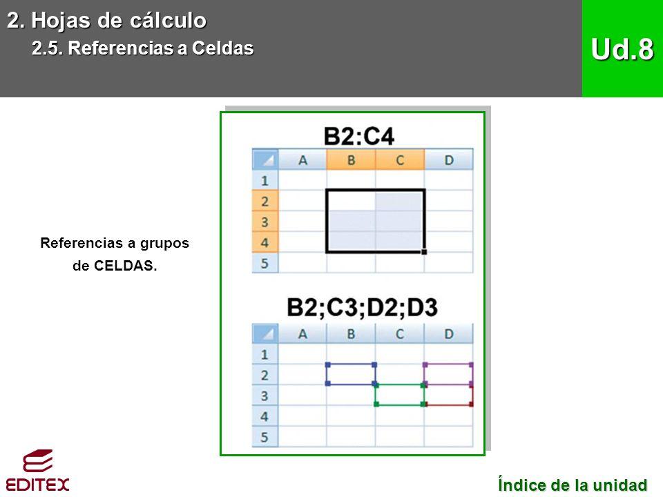 2. Hojas de cálculo 2.5. Referencias a Celdas Ud.8 Referencias a grupos de CELDAS.