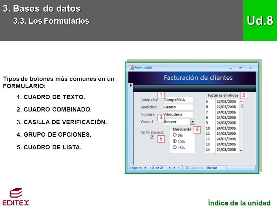Tipos de botones más comunes en un FORMULARIO: 1. CUADRO DE TEXTO.